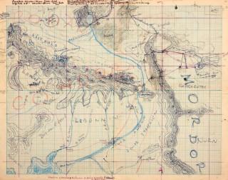 【地図】方眼紙(1mm8キロ)に描かれた地図の上には主人公達の行動が記入されている。
