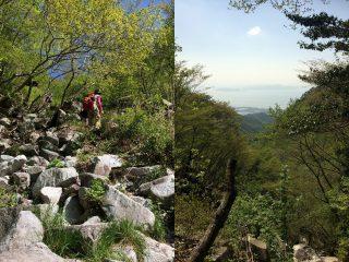 【ルートは確定されている】まあジャングルジムを登るようなもんです、青枯れを登り切って振り返るとそこには琵琶湖と対岸の景色が見える。