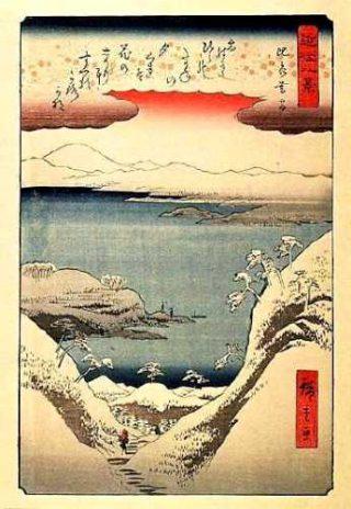 【近江八景】どうでしょう、400年前の「ワンショット」これは夕暮れか朝焼けの景色でしょうか。