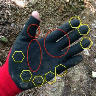 【ダメージを受ける部分】赤丸「ロープなどを引くときに擦る部分」/黄色六角「転倒などで擦る部分」