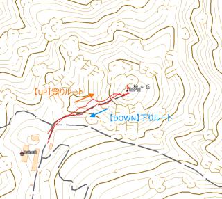 【GPSログ】登りルートのほうが下りルートよりも「上側」に回るルートです、これは登りよりも下りのほうが落石させやすい(滑ったりしやすい)という特性に合わせたものでしょう。