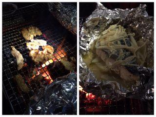 【キャンプファイヤー】かねひろの特上ラムを後輩が持ってきてくれて、イオンで買った秋鮭がチャンチャン焼きに、旨い!!