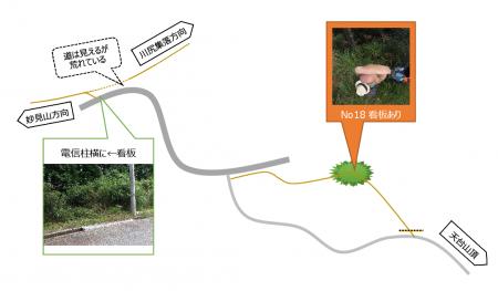 【天台山山頂から光明山】18番は×、砂利道を行こう。舗装道路に出てからも少しややこしい。