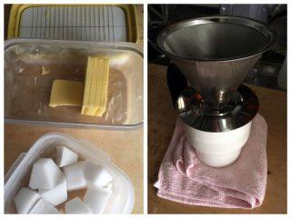 【前回紹介したセット】バターはカッターで切り、ココナツオイルは製氷皿で。