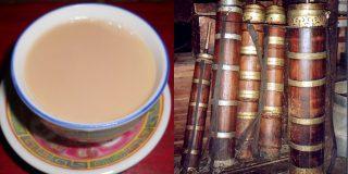 【バター茶】Wikipediaより、チベットの遊牧民はこの「ドンモ」と呼ばれる専用の攪拌器を持ち1日に10杯も「草食ヤク」のバター茶を飲む